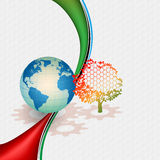 Abstract technology background; Earth globe behind  colorful tree Stock Photo