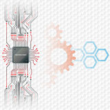 Abstract technology background; Electronic Chip connected at circuits board. With cogwheels and hexagons behind; Hexagons pattern in background royalty free illustration