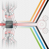 Abstract technology background; Electronic Chip connected at circuits board. Abstract linear design and cogwheels shapes; Hexagons pattern in background stock illustration