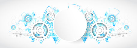 Abstract technology background. Futuristic style with blue trian Stock Photos