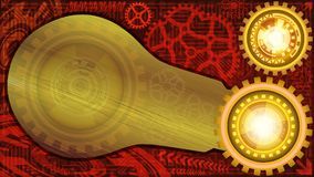 Abstract technology background with gears, microchip, and metallic plate of bulb shape for text. Of golden and red shades Stock Photo