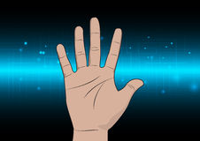 Abstract technology background with hand concept design Stock Photo