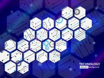 Abstract technology background with hexagons and gear wheels Royalty Free Stock Photos