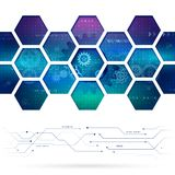 Abstract technology background with hexagons and gear wheels. Stock Photography