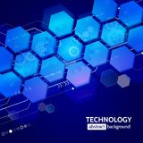 Abstract technology background with hexagons and gear wheels Royalty Free Stock Image