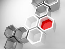 Abstract technology background honeycomb. Abstract technology background with gray honeycomb structure and one red segment on white background Stock Photo