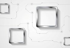 Abstract technology background with lines and metallic squares Royalty Free Stock Image