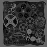 Abstract technology background. Metallic gears and cogwheels in the joint mechanism royalty free illustration