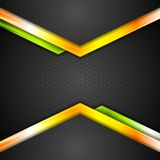 Abstract technology background with orange arrows Stock Photo
