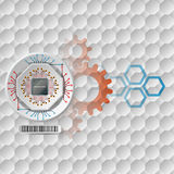 Abstract technology background;Processor Chip attached to white device Stock Photos