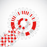 Abstract technology background with red squares and elements. Stock Photos