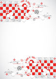 Abstract technology background with red squares and elements. Royalty Free Stock Image