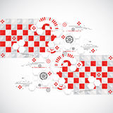 Abstract technology background with red squares and elements. Stock Image