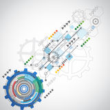 Abstract technology background with various technological elements. Vector illustration Stock Photos