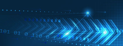 Abstract  technology banner with arrows pattern and circuit board on a dark blue background Stock Images
