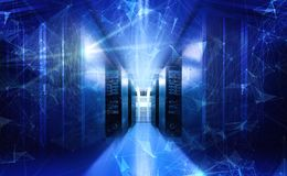 Free Abstract Technology Big Data Neon Blue Visualization 3d Rendering Stock Photography - 146087862