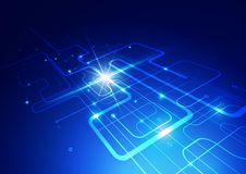 Abstract Technology Blue Background with Bright Flare Stock Photos
