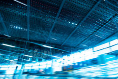 Abstract technology. Blue background, building hangars Royalty Free Stock Photography