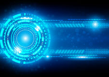 Abstract Technology Blue Background with connection and Bright F Stock Image