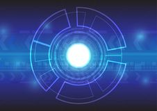 Abstract technology on blue background. With copy space circle for text Royalty Free Stock Images