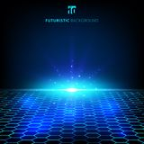 Abstract technology blue wire network futuristic wireframe data. Visualisation with lighting effect. Big data connection background. Hexagons pattern. Vector Stock Photography