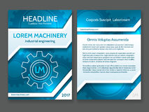 Abstract technology brochure template, modern digital blue design frame with vector tech stripes and gears Royalty Free Stock Images