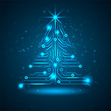 Abstract technology Christmas tree. Stock Photos