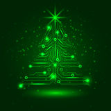 Abstract technology Christmas tree. Vector illustration stock illustration