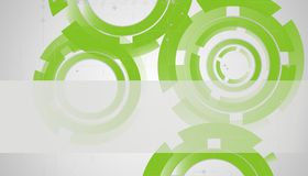 Abstract technology circles. On green Stock Image