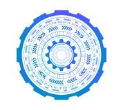 Abstract technology circles. Graphic design isolated on white. Background, 3d illustration Royalty Free Stock Image
