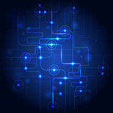 Abstract technology circuit blue background. Vector illustration. Stock Photo
