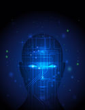 Abstract technology circuit on human face. Stock Images