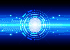 Abstract technology communication with brain technology. illustr Stock Images