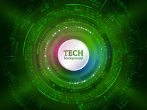 Abstract technology communication on the green background. Hi-tech radial circuit board with various technological elements. royalty free illustration