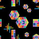 Abstract technology composition. Seamless vector pattern with falling cubes, stripes and crosses on black background. Trendy modern design for cards, covers Royalty Free Illustration