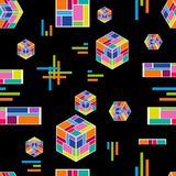Abstract technology composition. Seamless vector pattern with falling cubes, stripes and crosses on black background. Trendy modern design for cards, covers Stock Illustration
