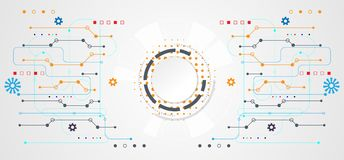 Abstract technology concept circle white digital on hi tech whit vector illustration