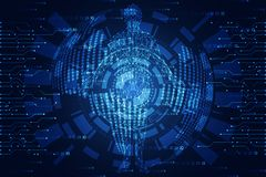 Abstract technology concept circle world digital link binary on. Hi tech blue background stock illustration