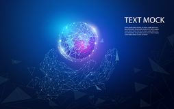 Abstract technology concept hand digital link and world on hi tech background.  stock illustration
