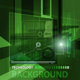 Abstract technology contour objects.Financial business presentation. Light futuristic concept, digital light and dark green. Vector modern background Stock Photography