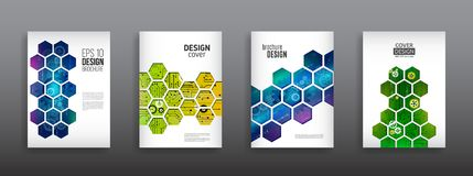Abstract technology cover with hexagon elements. High tech brochure design concept. Futuristic business layout. Digital poster templates royalty free illustration