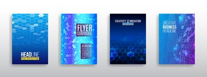 Abstract technology cover with hexagon elements. High tech brochure design concept vector illustration