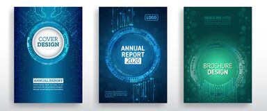 Free Abstract Technology Cover With Various Techno Elements. High Tech Brochure Design Concept. Futuristic Business Layout Royalty Free Stock Images - 172253349