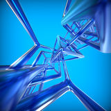Abstract technology 3D background. With metallic rectangles Stock Photos