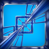 Abstract technology 3D background. With metallic rectangles Royalty Free Stock Image