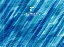 Abstract technology diagonally overlapped geometric squares shap. E blue colour background. Vector graphic illustration Stock Images
