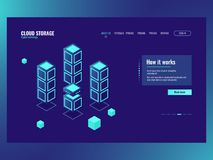 Abstract technology element, big data storage and processing, server room, database data center icon dark neon. Isometric vector Stock Photos