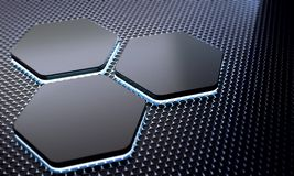 Abstract technology futuristic surface background with metal hexagon stock illustration