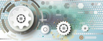 Abstract technology gear wheel engineering on square background. royalty free illustration