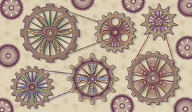 Abstract technology gears background. Vector illustration in steam-punk style. Vector illustration of the mechanism of gears Royalty Free Stock Image